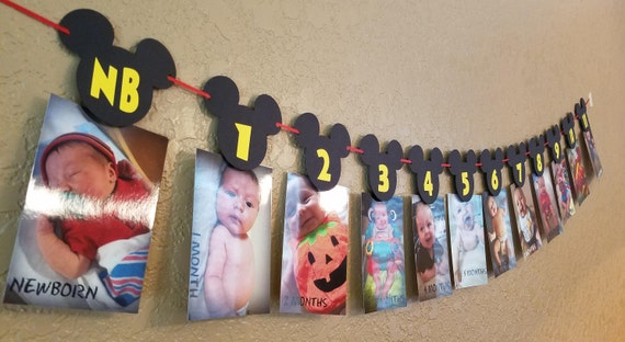 Mickey Mouse Birthday Month Banner Mickey Mouse 1st Birthday