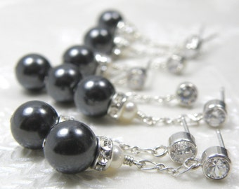 Bridesmaid Black Pearl Earrings, Charcoal Gray Wedding Jewelry, Bridal Party Gift, Sterling Silver, Cubic Zirconia Posts, 4 Pairs