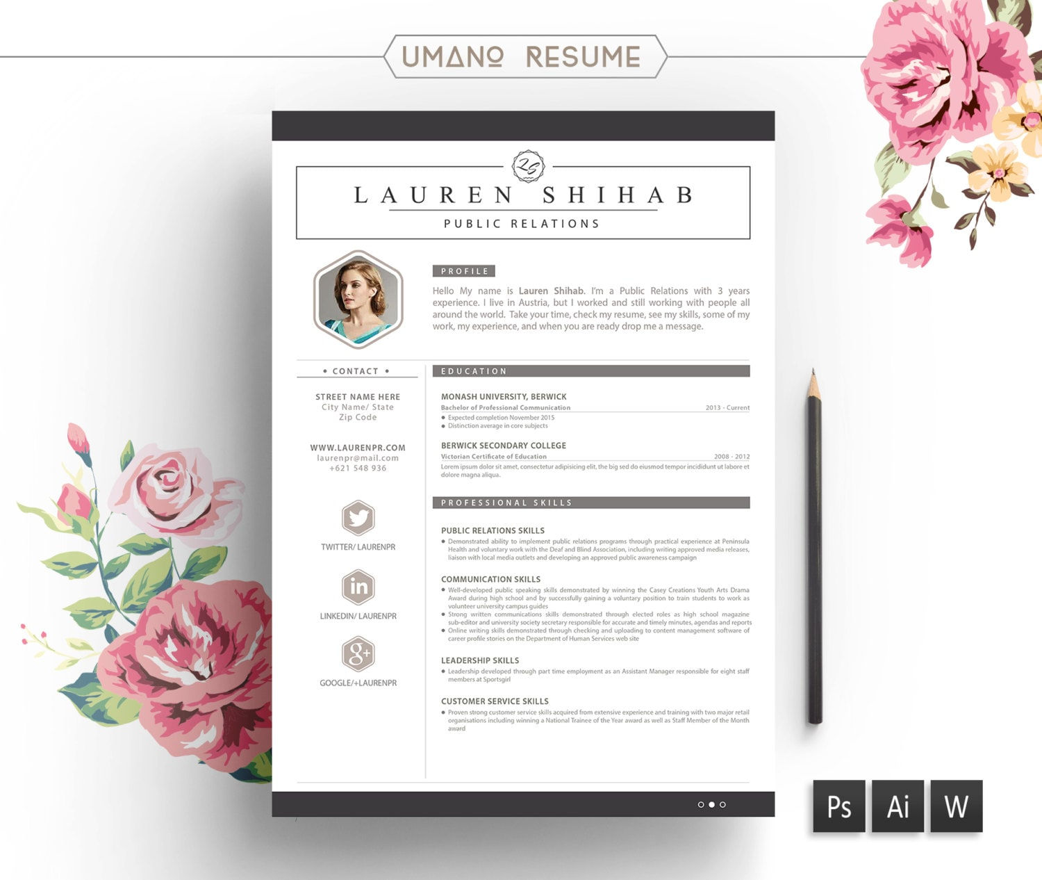 Resume Template & Free Cover Letter for Word AI PSD DIY