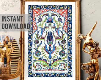Printable Art, Traditional Ottoman Tulip Watercolor Wall Art, Turkish Floral Rumi Pattern Home Decor, Mosque Design, Digital Download 005