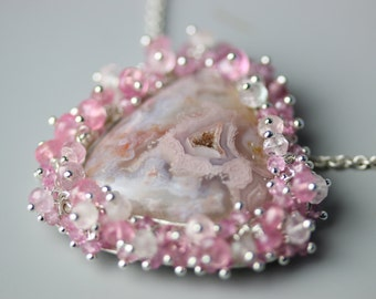 Agua Nueva Agate Necklace with Pink Sapphire and Tourmaline Fringe