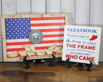 Personalized Guest Book/Flag/Air Force/Navy/Patriotic/Coast Guard/Military/Retirement/Wood Shape/Alternative/Submarines