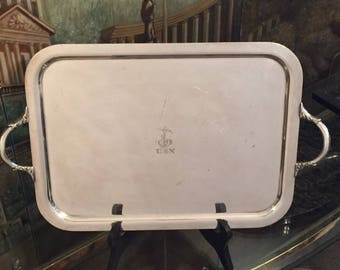 USN United States Navy Silverplate Tray with Fouled Anchor