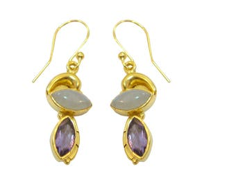925 Sterling Silver Amethyst Or Rainbow Moonstone Gold Plated Dangle Earrings For Valentines Day