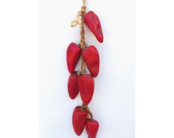 Hanging Chili Peppers -- Ceramic Chili Peppers -- Kitchen Decor -- Red Peppers on Rope -- Ceramic Hanging Peppers-- Ristra String of Ceramic