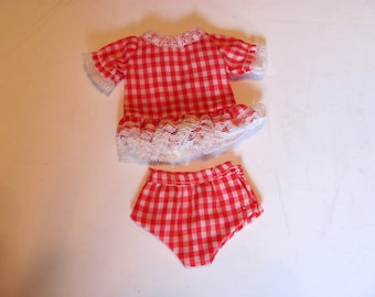 Doll Play Suit / Cheri Doll Play Suit / Red and White Gingham Doll Play Suit