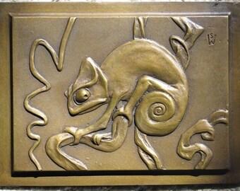"""Bronze 'Chameleon 1' plaque in bas relief 6"""" x 8"""""""