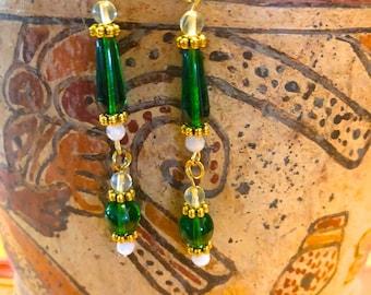 Green and Milk Glass Dangle Earrings