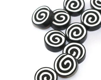 Round spiral jewelry pendant beads, DIY jewelry gift craft supplies, black and white liquorice polymer clay beads, necklace charms, 14 pcs.