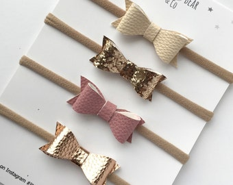 Baby Headband | Hair Clips | Rose Gold Set of Four Mini Classic Hair Bows | Faux Leather | Glitter