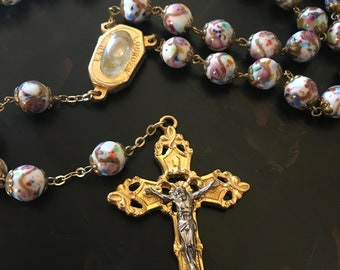 Art Glass Bead Rosary. Lourdes Holy Water, Catholic Rosary, Roman Inc., Baptism, Confirmation, First Communion