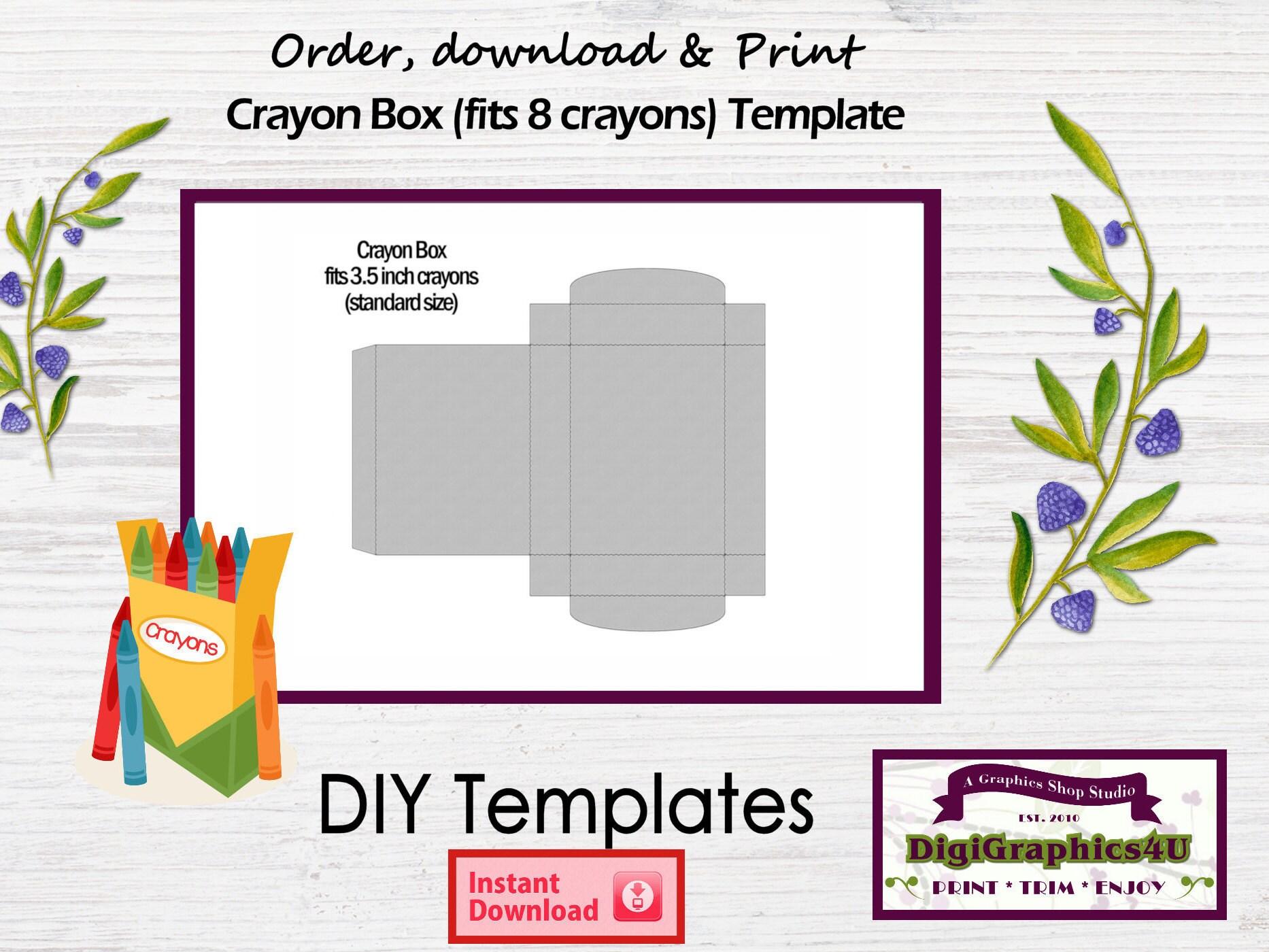 Crayon Box Printable DIY Template Instant Download PNG Format