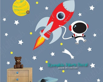 Space Wall Decal with Astronaut, Planets, Rocket Wall Decal  for Dark Walls (Rocket Mission) RMRH