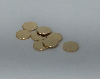 10 pieces- Gold Fill disc, round stamping blanks, no holes, 22g thick, 6.4mm diameter,