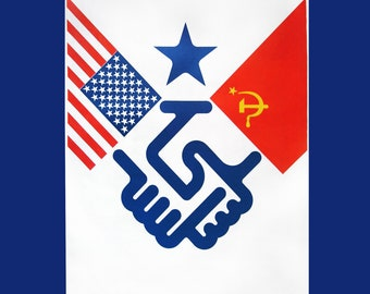 USSR-USA cooperation poster -RARE-