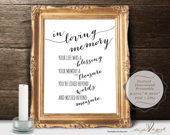Instant download Printable In Loving Memory, Wedding Memorial Table Sign, Memory Sign, Your life was a blessing (c0204)