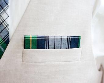 Pocket Square, Pocket Squares, Handkerchief, Mens Pocket Square, Boys Pocket Square, Wedding Pocket Squares - Navy And Green Madras Plaid