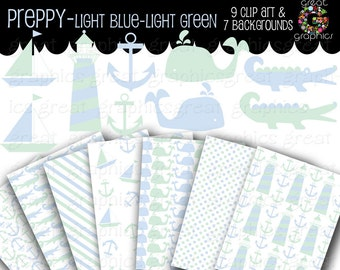 Preppy Baby Boy Clip Art Printable Baby Shower Paper Instant Download