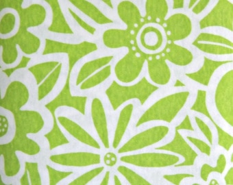 Lime Green White Happy Flower Fabric Stretch Knit, Polyester Cotton Blend, Fabric by the Yard, Green Sewing Fabric