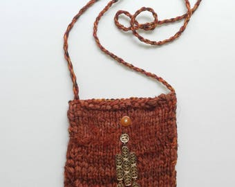 Rusty Red and Orange Hand Knit Silk Hemp Cotton Shoulder Bag - Golden Charm