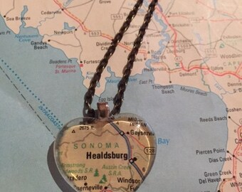 Sonoma, CA Vintage Map Pendant Necklace