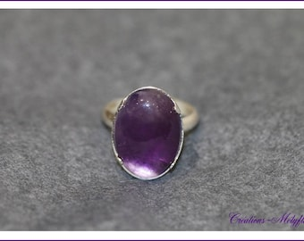 Amethyst natural stone, and silver ring
