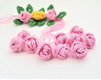 Set of 10 mini crochet roses Mini pink roses Micro mini flowers Crocheted flowers Crochet application Flower crochet motif Small crocheted