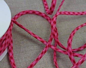 End of stock - 1 m cord spaghetti ruffles 7mm - gingham - pink - 4091 7 508