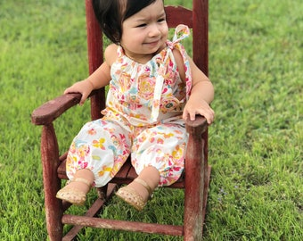 Cream Floral Jumpsuit, Boho Romper, Floral Baby Clothes, Toddler Romper, One Piece, Baby Rompers, Kids Clothing, Girls  Romper