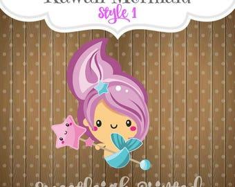 Kawaii Mermaid Cookie Cutter. Style 1