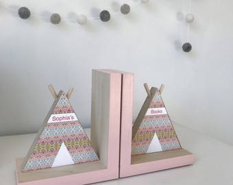 TeePee Bookends, Personalized, Tribal Nursery Decor, , Aztec Kids Decor, Tribal Nursery, Aztec Nursery Girl, Southwest