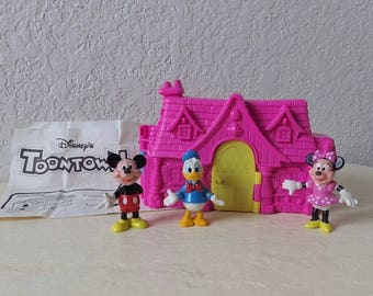 Disney's TOONTOWN Playset Case with Original Figures, Mickey Mouse, Minnie Mouse and Donald Duck.
