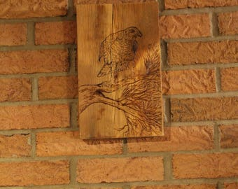 Hawk In a tree Pyrography Burn on old Barn Wood
