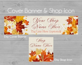 Fall Etsy Banner, Autumn Shop Banner, Cover Photo Banner, Autumn Leaves Banner, Nature Banner, Linen Banner, Autumn Shop Icon, Fall Icon