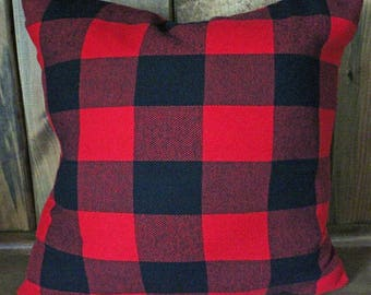 Red and Black Buffalo Check Flannel Pillow Cover Decorative, Throw, 18 x 18