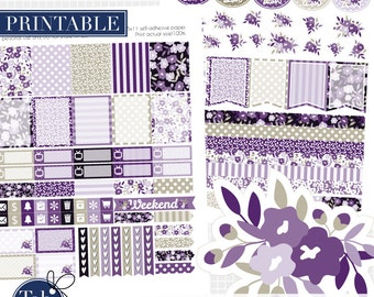 September printable two pack planner stickers for vertical Erin Condren, Inkwell press, Plum Paper planners in violet and gray.