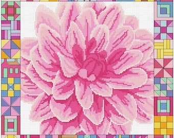 dahlia and patchwork border