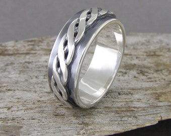 Men's Rustic Braided Sterling Silver Ring ~ Men's Wedding Ring ~ Hand Wrought