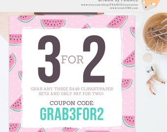 Coupon Code: GRAB3FOR2. Get 3 Clipart or Digital Paper Packs for the price of 2! Buy in Bulk and Save. FRANCEillustration Clip Art Sale.