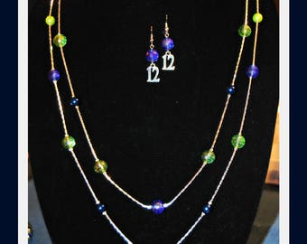 Seattle Seahawks double strand necklace and earring set.