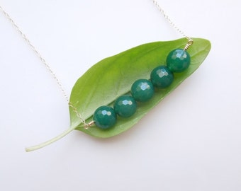 Agate Necklace in Forest Green
