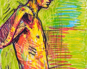 Nude drawing, oil pastel, nude pastel art, unique drawing, artist drawing, large original painting, male painting, figure painting, abstract