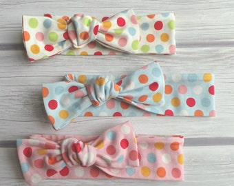 Polka Dot Knotted Headbands / Toddler Headband / Adjustable Knot Headband / Baby Headband / Polka Dots / Baby Bow / Baby Headwrap