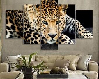 5 Panels Cheetah Canvas Art Multi Grouped Art Work