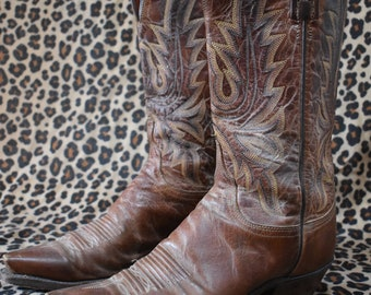1883 by Lucchese vintage brown leather women cowgirl cowboy boots
