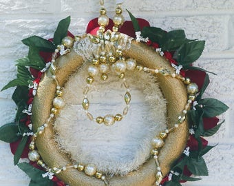 Gold with Red and Green trim. Wreath Shabby Chic