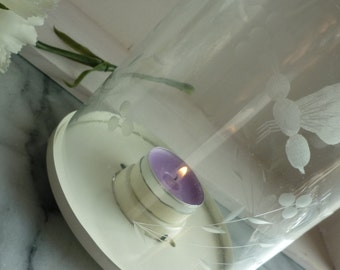 """Vintage Cream 10.5"""" three footed lantern candle holder, etched flying insects on glass, centre piece, garden, celebrations, housewarming"""
