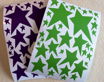 Green and Purple Wonky Star Stickers - ONE Set = 76 Stars