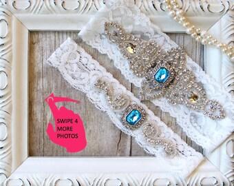 Garter Set - Wedding Garter w/ toss - Turquoise Blue Garter, Something Blue, Crystal Garters, Bridal Garter, Rhinestone