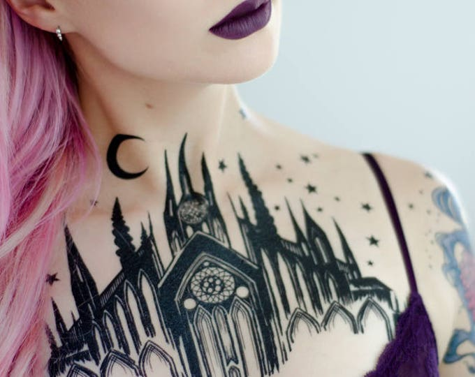 Featured listing image: Black Cathedral Chest Piece Temporary Tattoo